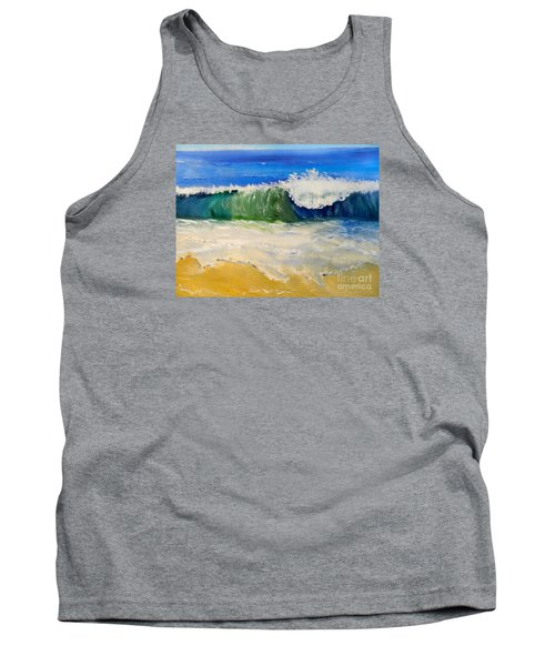 Watching The Wave As Come On The Beach Tank Top by Pamela  Meredith