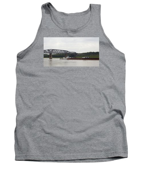 Tank Top featuring the photograph Water Under The Bridge - Towboat On The Mississippi by Jane Eleanor Nicholas