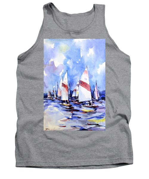 Watercolor Of Scow Boats Racing Torch Lake Mi Tank Top