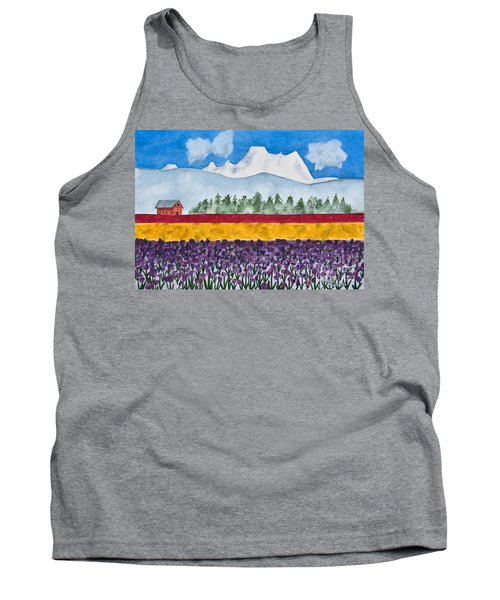 Watercolor Painting Landscape Of Skagit Valley Tulip Fields Art Tank Top by Valerie Garner