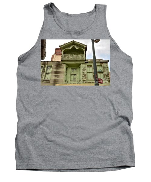 Tank Top featuring the photograph Weathered Old Green Wooden House by Imran Ahmed