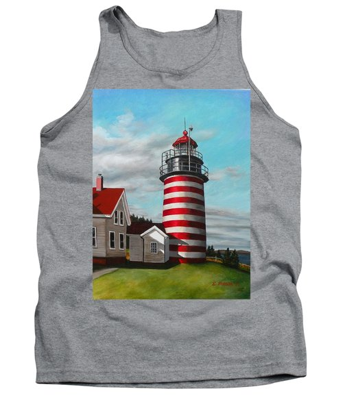 West Quoddy Head Lighthouse Tank Top by Eileen Patten Oliver