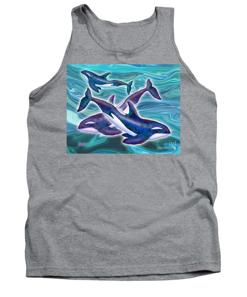 Tank Top featuring the mixed media Whale Whimsey by Teresa Ascone