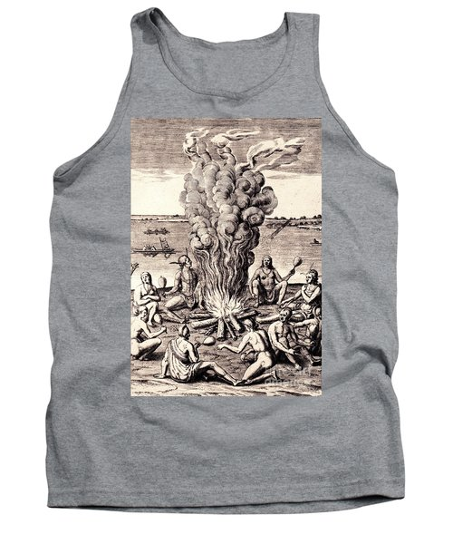 Tank Top featuring the drawing When They Returned From The War They Make Merry About The Fire by Peter Gumaer Ogden