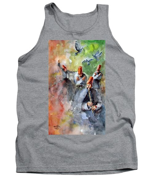 Tank Top featuring the painting Whirling Dervishes And Pigeons         by Faruk Koksal