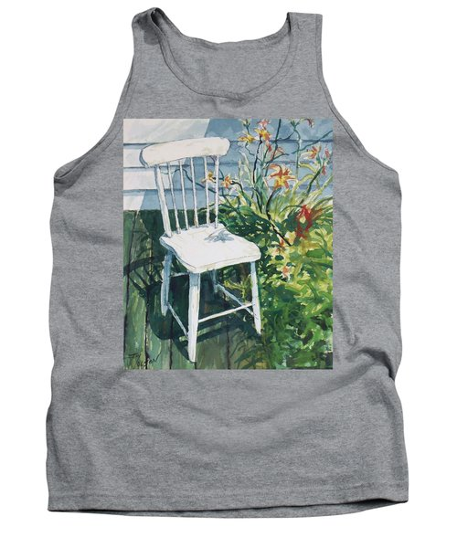 White Chair And Day Lilies Tank Top by Joy Nichols