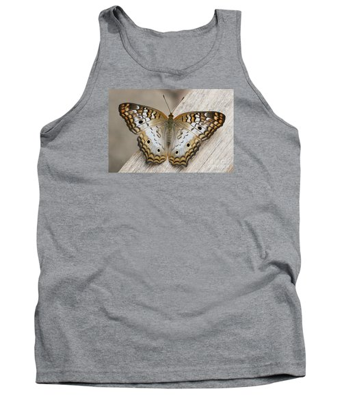 White Peacock Butterfly Tank Top by Judy Whitton