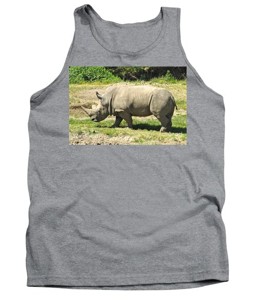 White Rhinoceros Grazing Tank Top by CML Brown