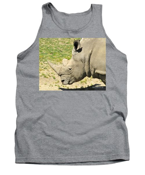 White Rhinoceros Portrait Tank Top by CML Brown