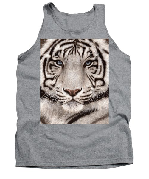 White Tiger Painting Tank Top by Rachel Stribbling