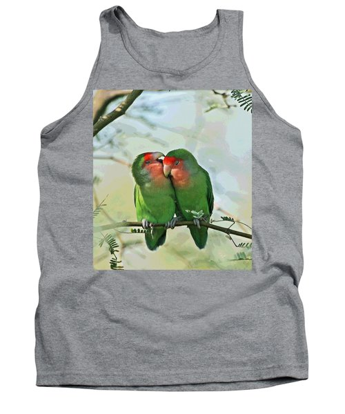 Tank Top featuring the photograph Wild Peach Face Love Bird Whispers by Tom Janca