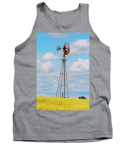 Windmill In Canola Field Tank Top