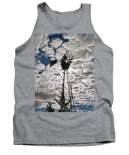 Tank Top featuring the digital art Windmill In The Clouds by Cathy Anderson