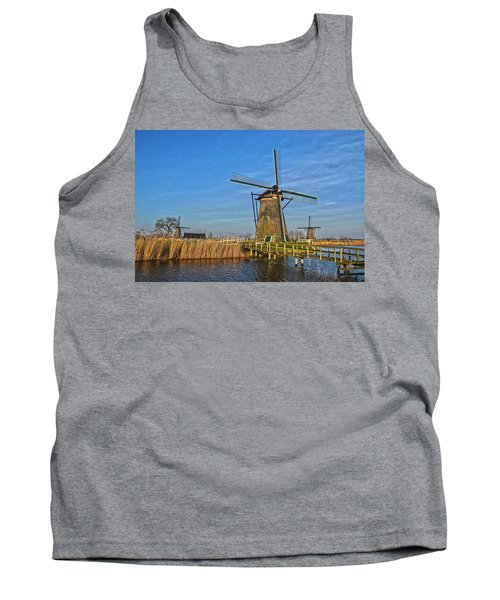 Windmills And Bridge Near Kinderdijk Tank Top