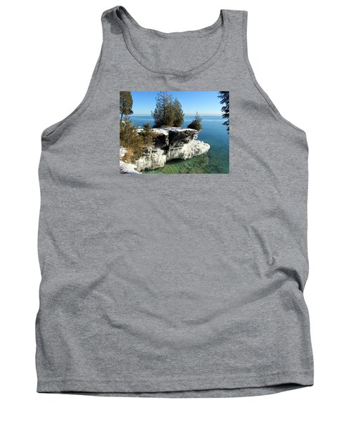 Winter At Cave Point Tank Top by David T  Wilkinson
