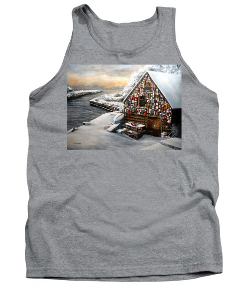 Winter Ipswich Bay Wooden Buoys  Tank Top