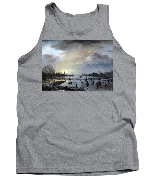 Tank Top featuring the painting Winter Landscape With Skaters by Gianfranco Weiss
