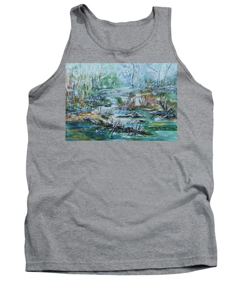 Tank Top featuring the painting Winter Whispers On Catskill Creek by Ellen Levinson