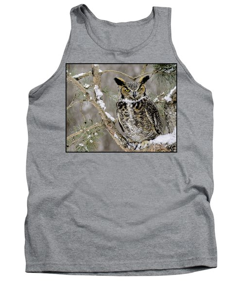 Wise Old Great Horned Owl Tank Top