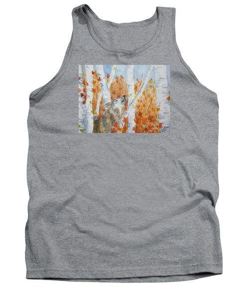 Tank Top featuring the painting Wolf Call by Ellen Levinson