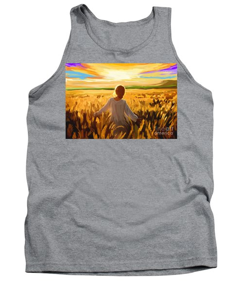 Woman In A Wheat Field Tank Top