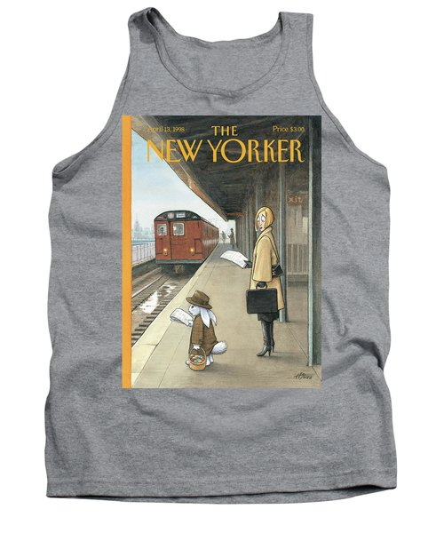 Woman On Train Platform Looking At Easter Bunny Tank Top