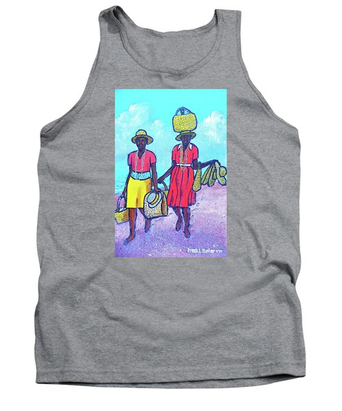 Women On Beach At Grenada Tank Top by Frank Hunter