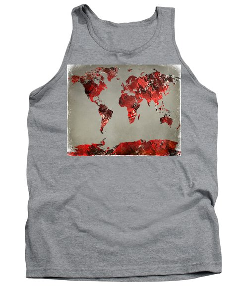 World Map - Watercolor Red-black-gray Tank Top