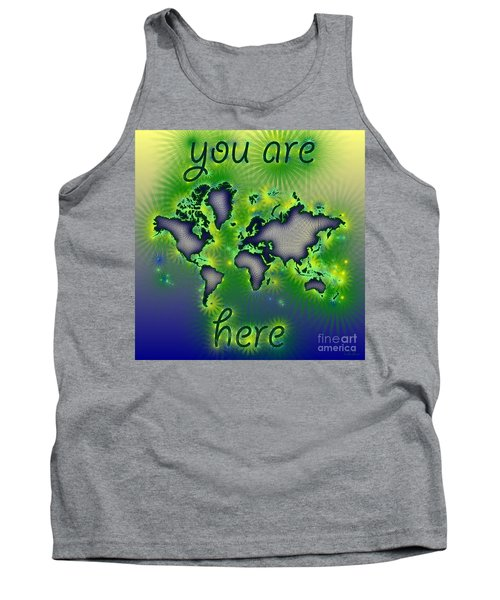 World Map You Are Here Amuza In Blue Yellow And Green Tank Top by Eleven Corners