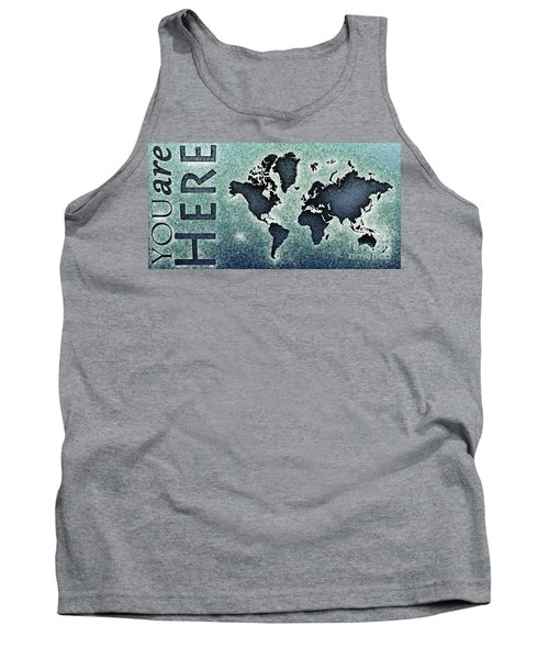 World Map You Are Here Novo In Black And Blue Tank Top