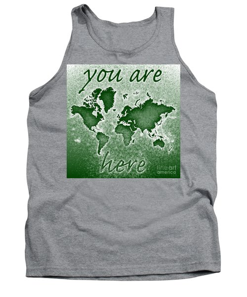 World Map You Are Here Novo In Green Tank Top