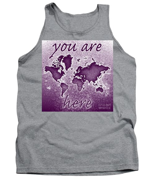 World Map You Are Here Novo In Purple Tank Top