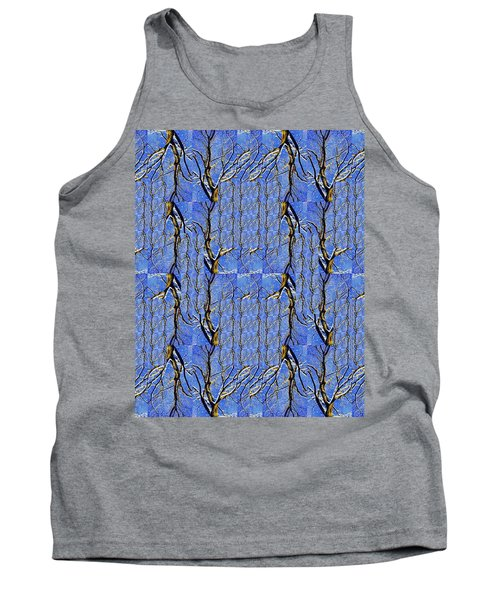 Woven Tree In Blue And Gold Tank Top