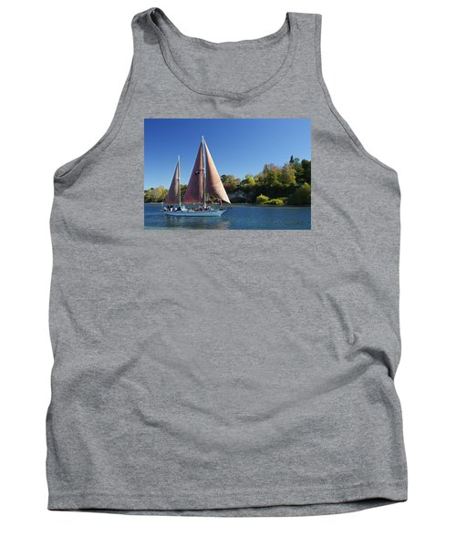 Yacht Fearless On Lake Taupo  Tank Top by Venetia Featherstone-Witty