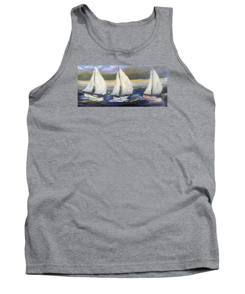 Yachts Sailing Off The Coast Tank Top by Pamela  Meredith