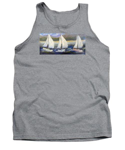 Yachts Sailing Off The Coast Tank Top