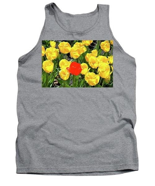 Yellow And One Red Tulip Tank Top by Ed  Riche
