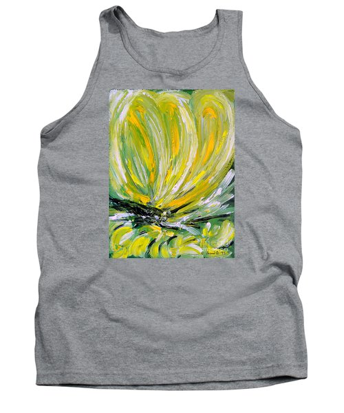 Yellow Butterfly Tank Top by Jasna Dragun