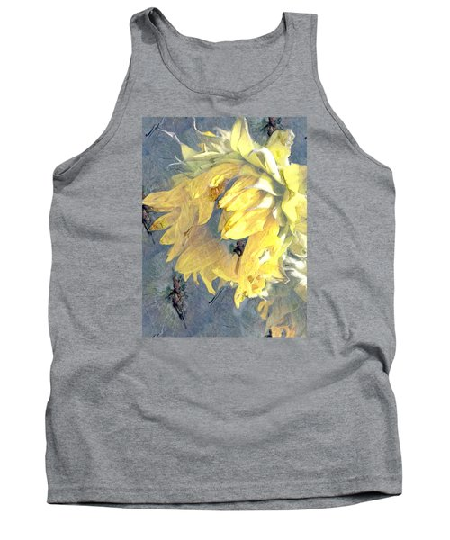 Yellow Fading Flower Tank Top by Patricia Januszkiewicz