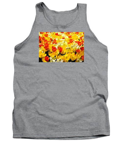 Yellow Red And White Tulips Tank Top by Menachem Ganon