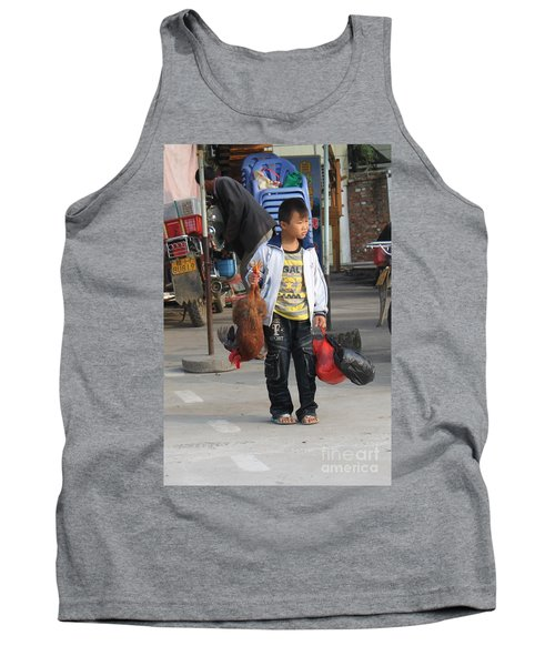 Young Boy Carrying A Dead Chicken To School Tank Top
