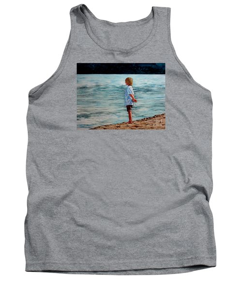 Tank Top featuring the painting Young Lad By The Shore by Christopher Shellhammer