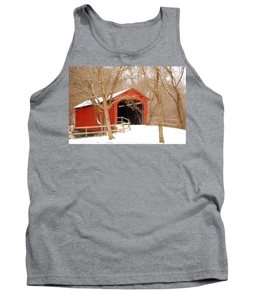Tank Top featuring the photograph  Sandy Creek Cover Bridge  by Peggy Franz