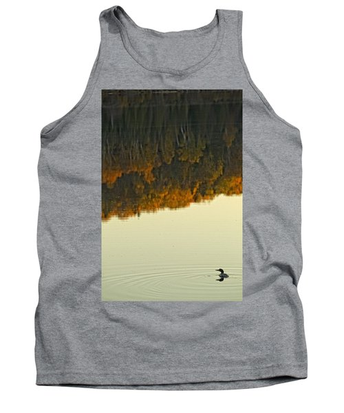 Loon In Opeongo Lake With Reflection Tank Top