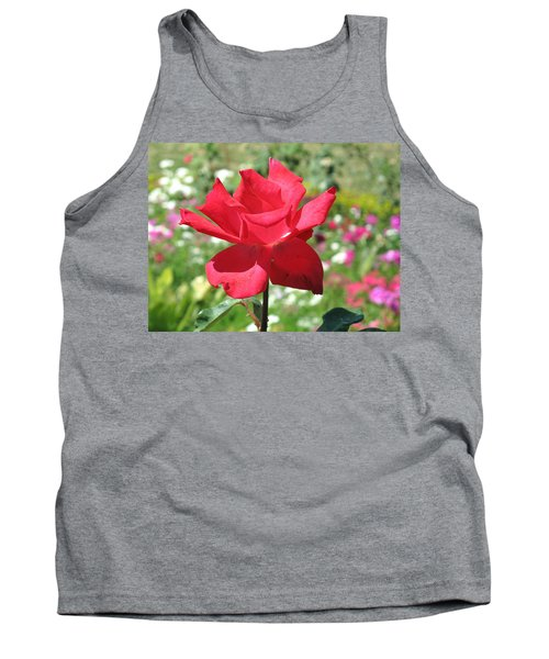 Tank Top featuring the photograph A Beautiful Red Flower Growing At Home by Ashish Agarwal