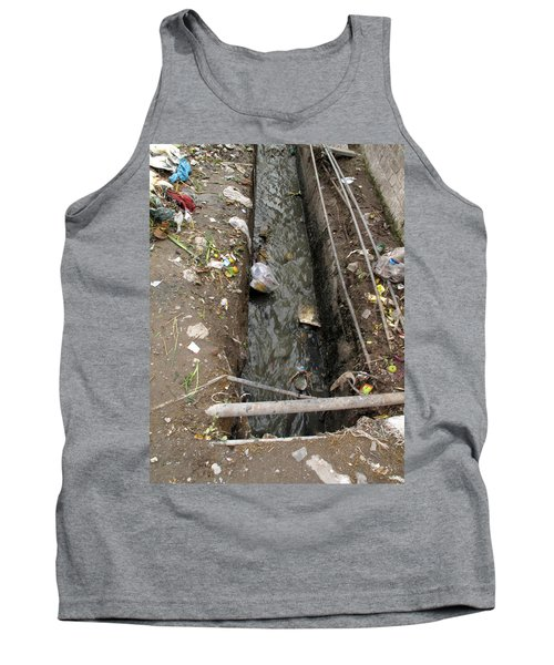 Tank Top featuring the photograph A Dirty Drain With Filth All Around It Representing A Health Risk by Ashish Agarwal