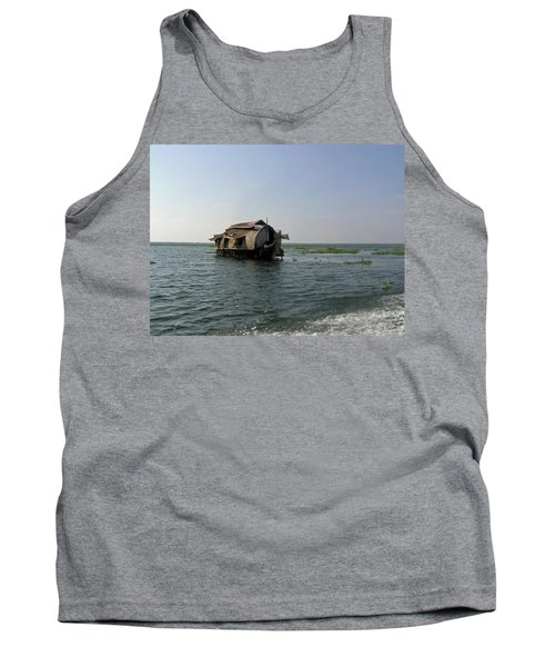Tank Top featuring the photograph A Houseboat Moving Placidly Through A Coastal Lagoon In Alleppey by Ashish Agarwal