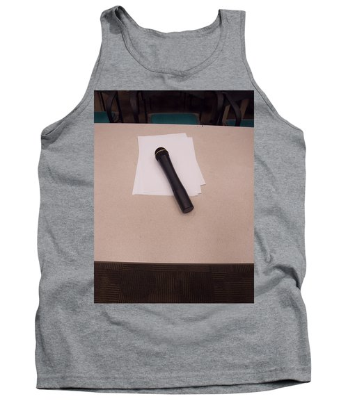 Tank Top featuring the photograph A Microphone On The Lectern Of A Presentation Room by Ashish Agarwal