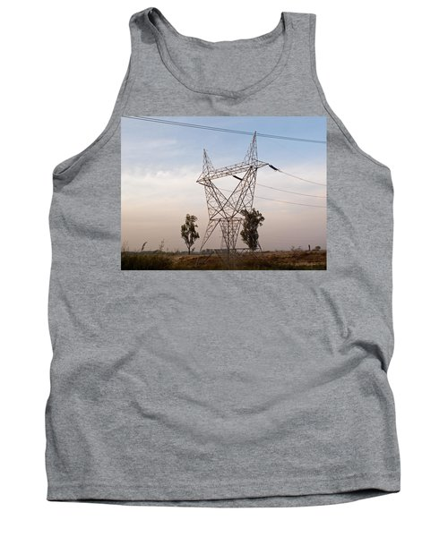 Tank Top featuring the photograph A Transmission Tower Carrying Electric Lines In The Countryside by Ashish Agarwal