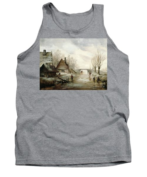 A Winter Landscape With Figures Skating Tank Top